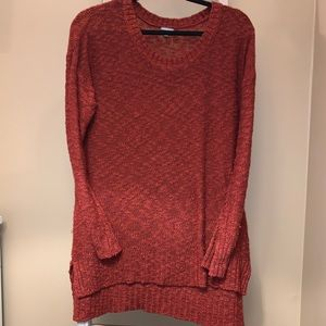Cozy red high/low sweater